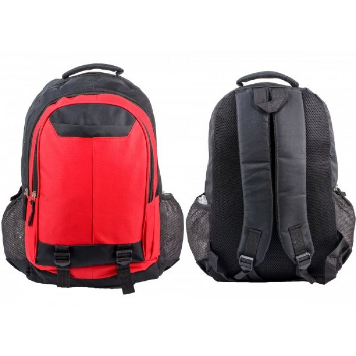 BP106 BLK/RED RUCKSACK W/ 4 ZIPS AND 2 NETTED POCKETS