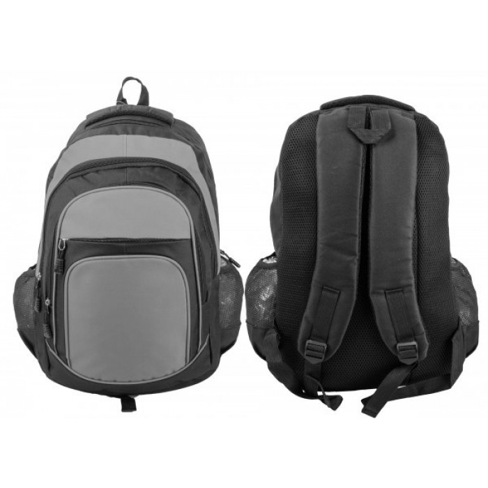 BP105 BLK/GREY RUCKSACK W/ 4 ZIPS AND 2 NETTED POCKETS
