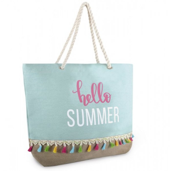 BB1010 CANVAS BAG WITH HELLO SUMMER BLUE