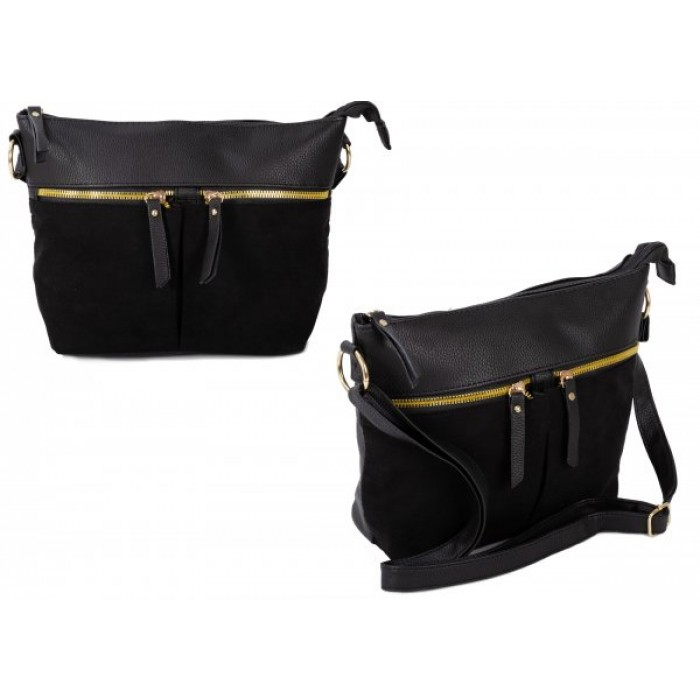 JBFB302 BLACK PU CROSSBAG W/ 3 ZIPS & SOFT TOUCH MATERIAL