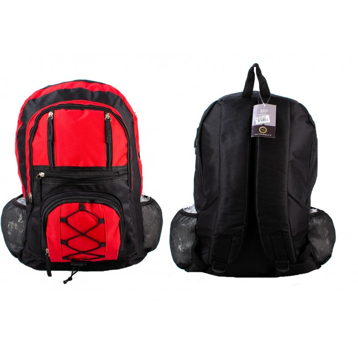 BP-101 BLK/RED RUCKSACK W/ 6 ZIPS AND 2 NETTED POCKETS