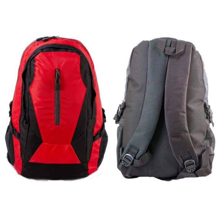 BP-109 BLK/RED RUCKSACK W/ 3 ZIPS AND 2 NETTED POCKETS