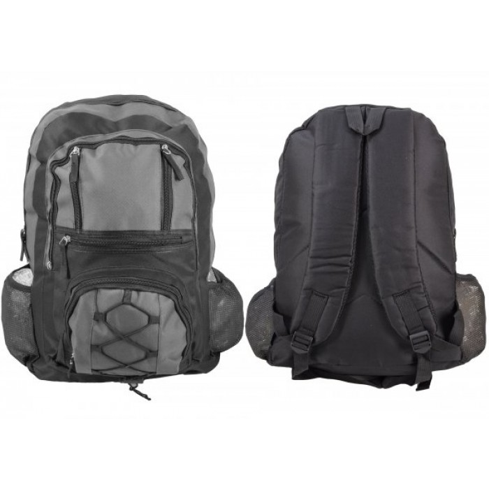 BP101 BLK/GREY RUCKSACK W/ 6 ZIPS AND 2 NETTED POCKETS