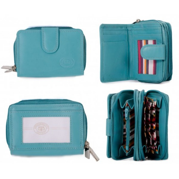 1073 TURQUOISE SFT C.NAPPA TWIN ZIP RND PURSE, PASS