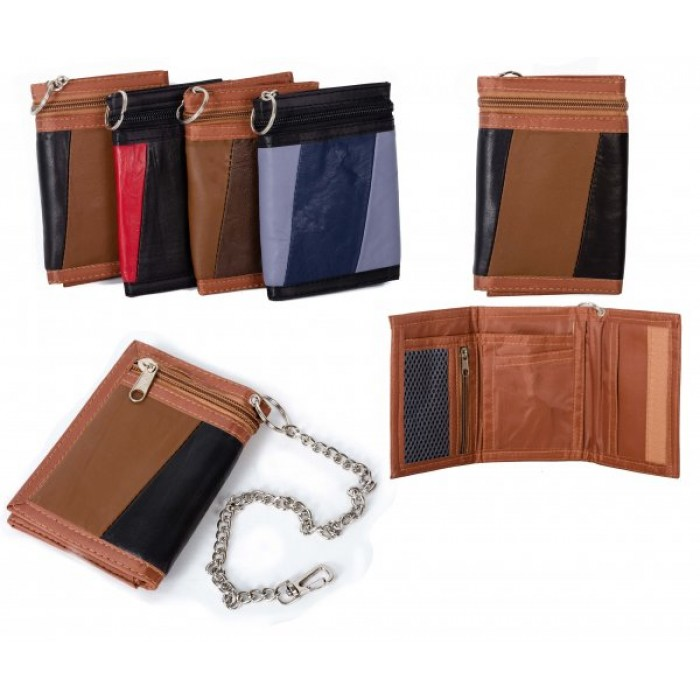 1894 BLACK MULTI S.NAPPA TRIFOLD WALLET W/CHAIN