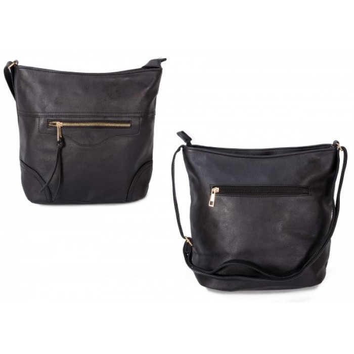 JBFB304 BLACK PU CROSSBAG W/ 3 ZIPS AND TASSEL
