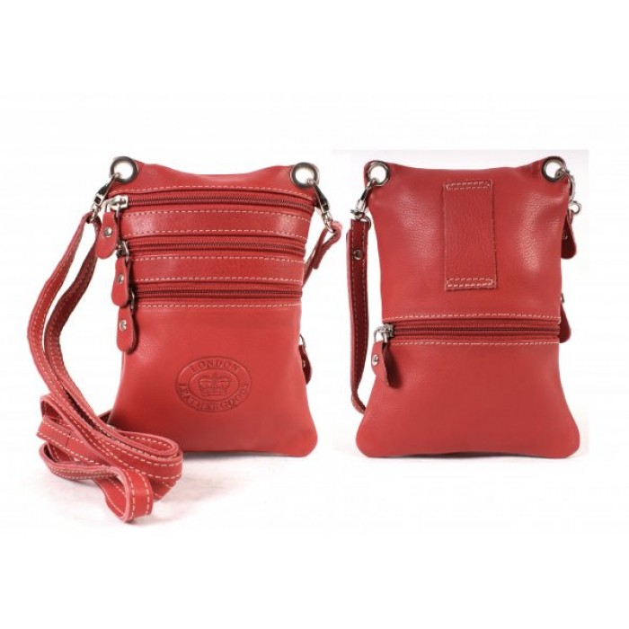 0501 RED SMTH C.NAPPA X-BODY NECK PURSE/BAG, 4 ZIPS