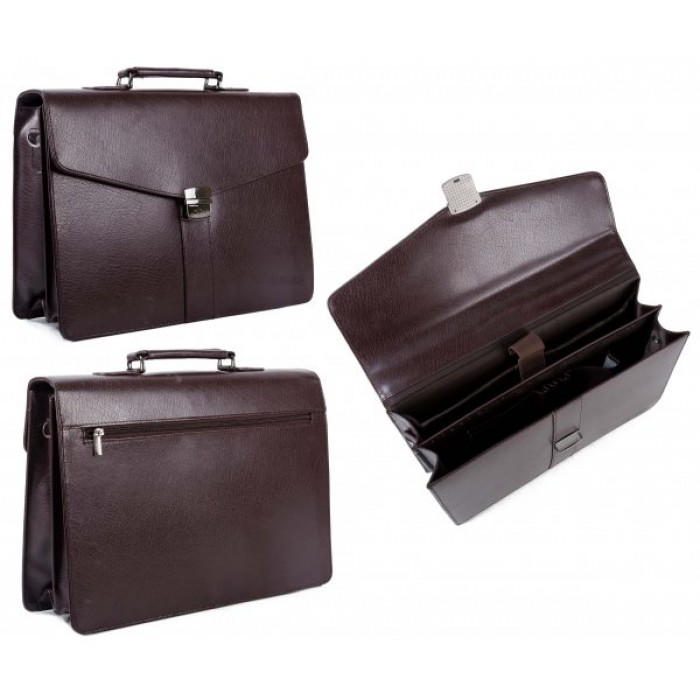 9895-BU BROWN BRIEFCASE W/ LAPTOP SLEEVE