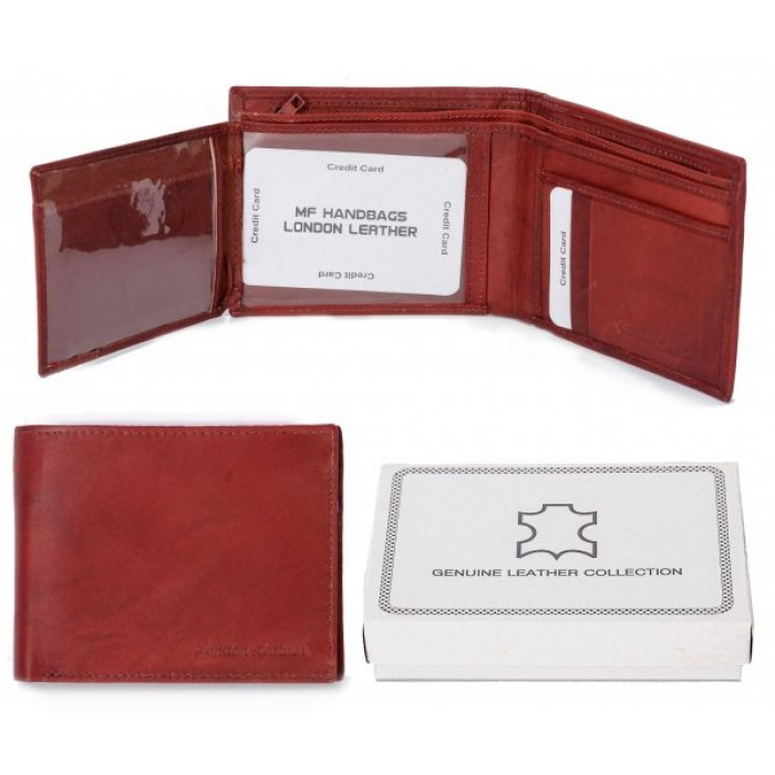 1064 RFID ORANGE LONDON LEATHER WALLET W/ TRIFOLD