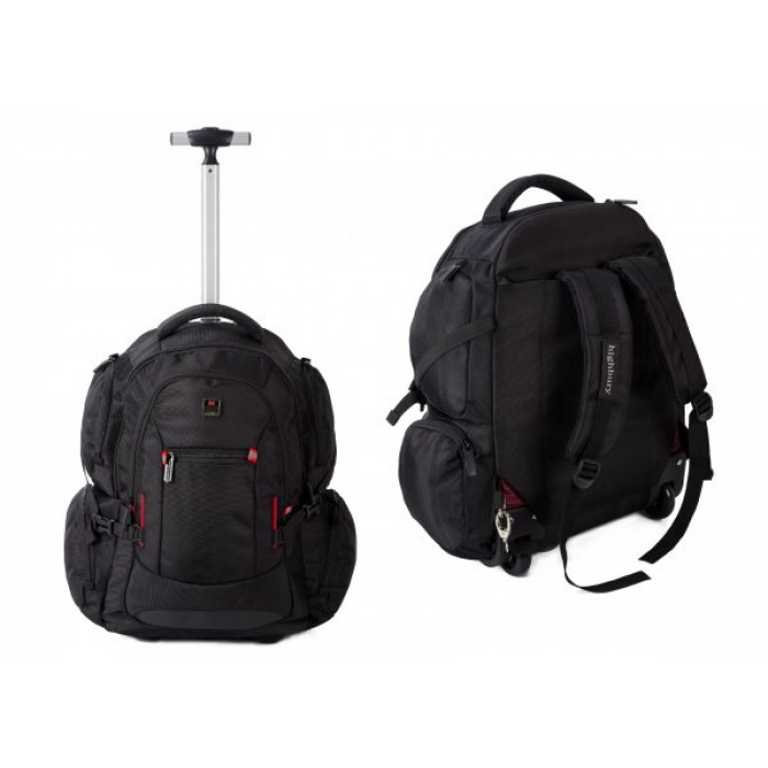 HBY-0131 BLACK BUSINESS TROLLEY W/ BACK STRAPS