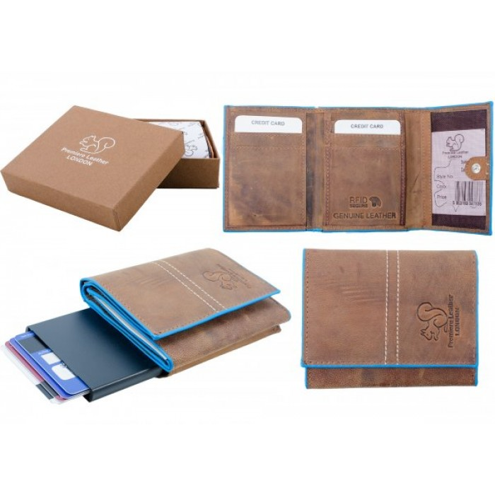RL 9007 RFID C-SECURE CASE WALLET TAN BLUE