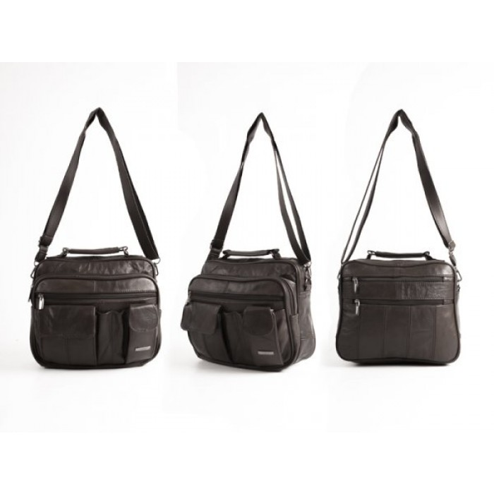 3727 DARK BROWN LRG C.HIDE UNISEX/GNTS/TRVL MULTI PKT BAG