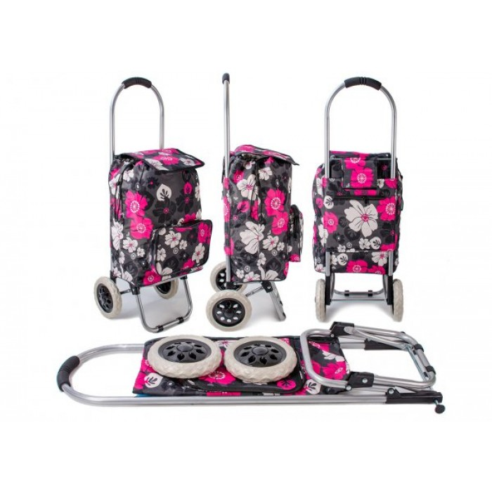 ST-FP-03 PINK FLOWER PRINT 2 WHEEL SHOPPING TROLLEY