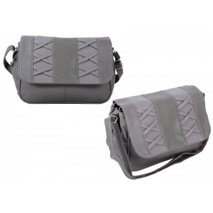 JBHB2548-B GREY CROSSBAG W/3 ZIPS