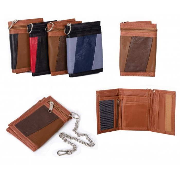 1894 BROWN MULTI S.NAPPA TRIFOLD WALLET W/CHAIN