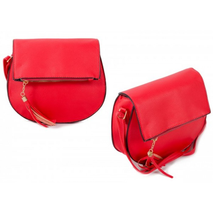 JBFB288 RED PU ROUND CROSSBAG W/ ZIP FLAP