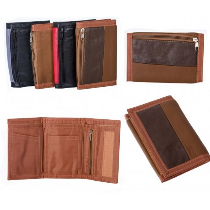 1893 BROWN MULTI S.NAPPA TRI FOLD WALLET ZIP