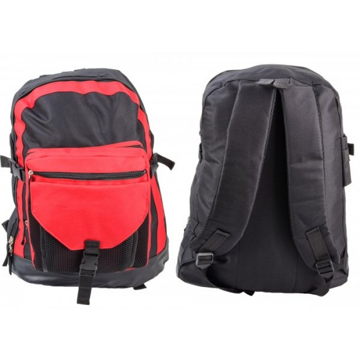 BP115 BLK/RED RUCKSACK W/ 3 ZIPS AND 3 NETTED POCKETS