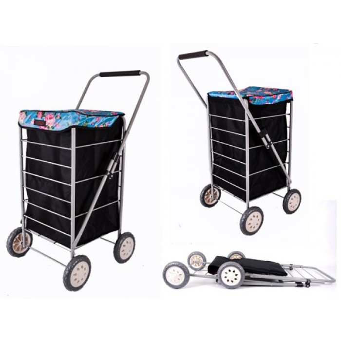 6963 BLACK BLUE ROSES 4 WHEEL CAGE SHOPPING TROLLEY