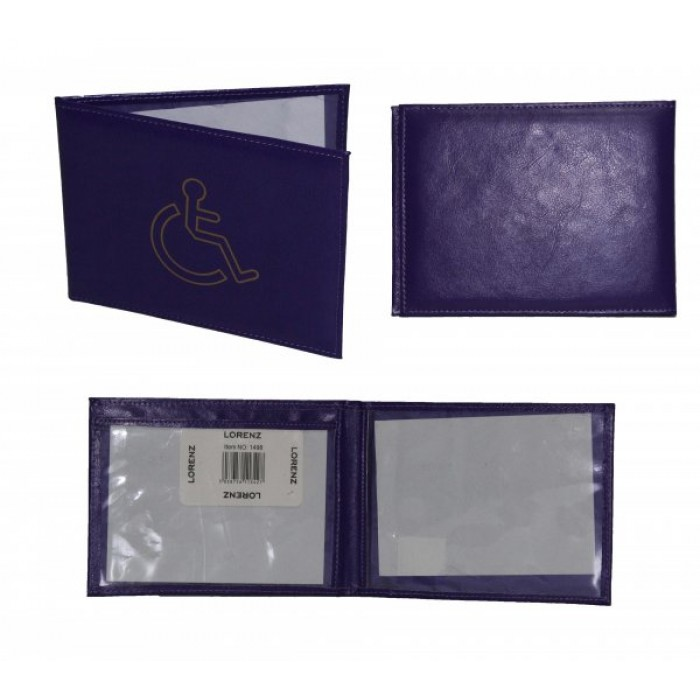 1498 GRAINED PU DISABLED BADGE HOLDER PURPLE