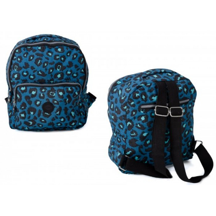 2446 BLUE LEOPARD TWIN TOP ZIP ROUND BACKPACK WITH FRONT ZIP