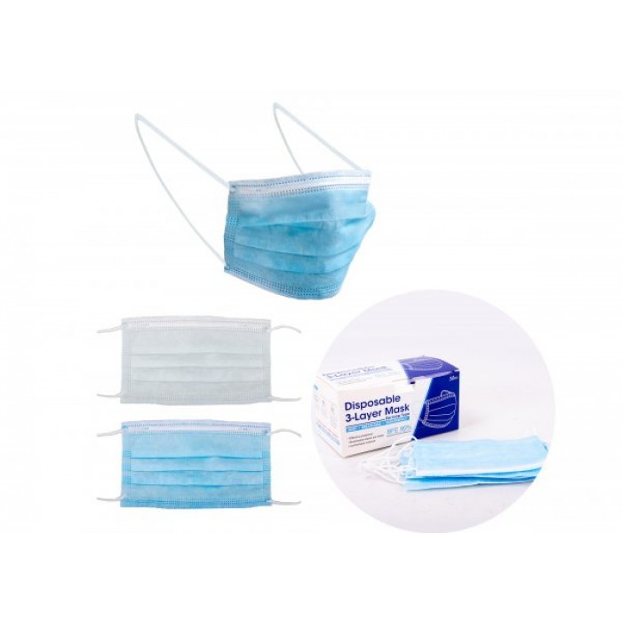 DISPOSABLE 3 LAYER FACE MASK - PACK OF 50 PCS