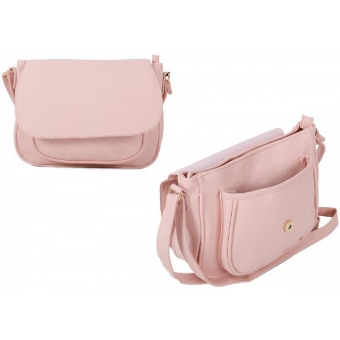 JBFB260 PINK PU CROSSBAG W/ FLAP & FRONT POCKET