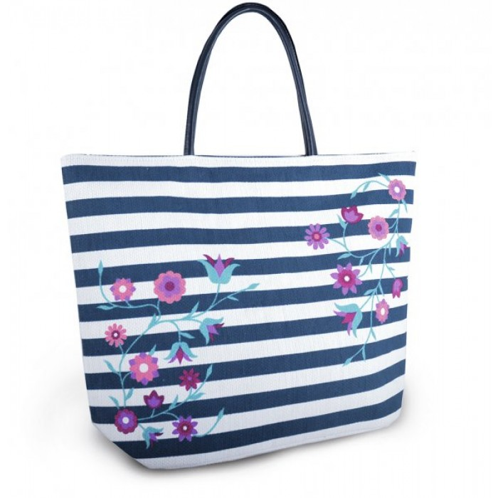 BB1005 DITSY CHAMBRAY BAG WITH ROPE NAVY