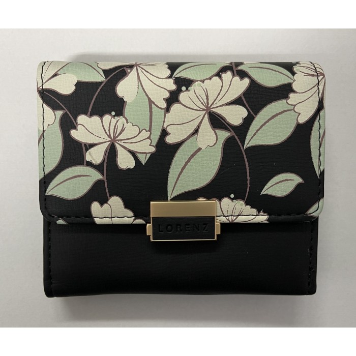 7236 BLACK SMALL LORENZ RFID PURSE WITH FLORAL DESIGN
