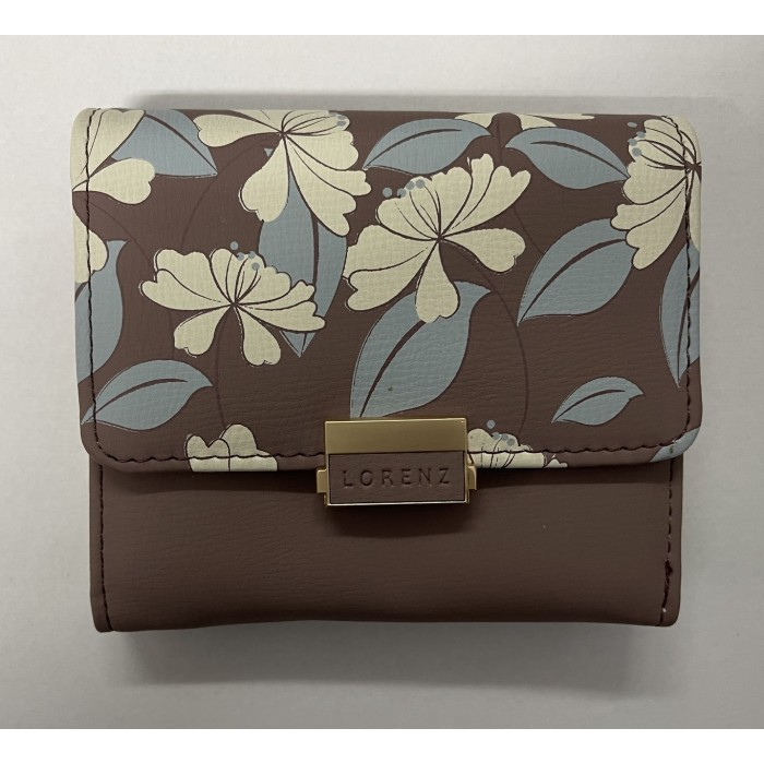 7236 MAUVE SMALL LORENZ RFID PURSE WITH FLORAL DESIGN