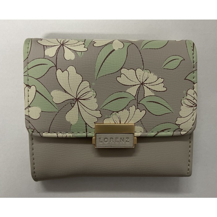 7236 GREY SMALL LORENZ RFID PURSE WITH FLORAL DESIGN