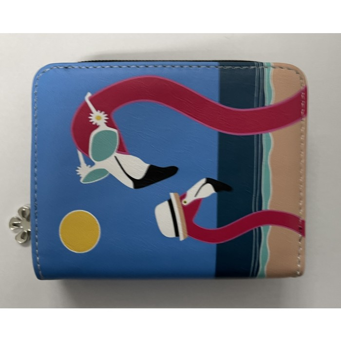 7095 SMALL RFID PURSE WITH FLAMINGOS ON THE BEACH