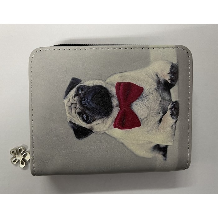 7095 SMALL RFID PURSE FRENCH BULLDOG WITH A RED BOW TIE