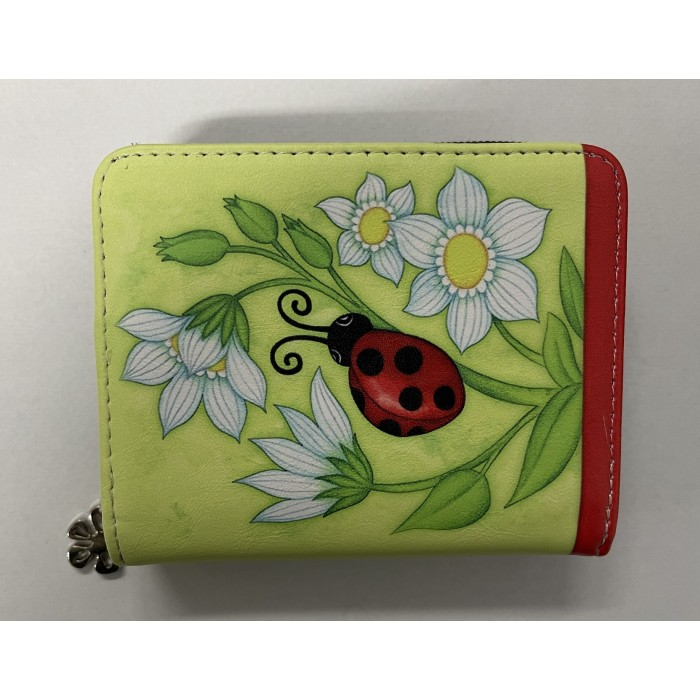 7095 SMALL RFID PURSE RED LADYBIRD WITH FLOWERS
