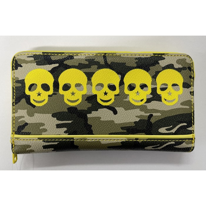 Large Zip Round Purse in Cammo Print with Yellow Skulls