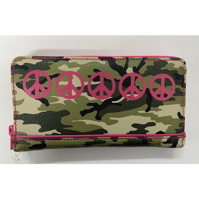 Large Zip Round Purse in Cammo Print with Fuschia Peace Signs