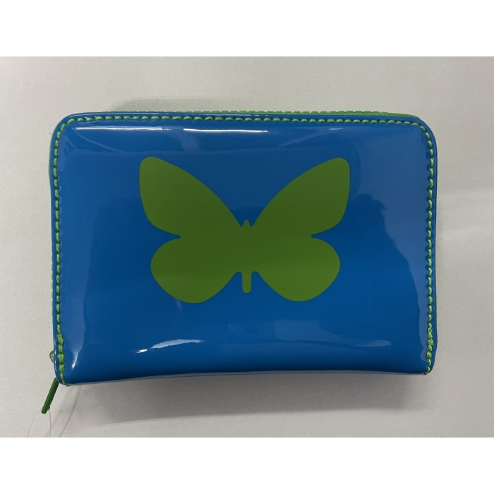 Medium Zip Round Purse in Blue Patent Purse with Green Butterfly
