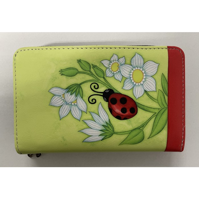 7096 MEDIUM SIZED RFID PURSE RED LADYBIRD WITH FLOWERS