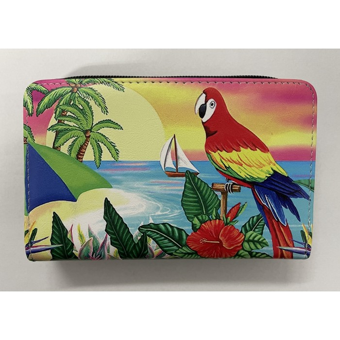7095 SMALL RFID PURSE PARROT AND TROPICAL LANDSCAPE