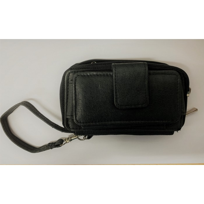 50767A Black Double Zip Purse with Velcro Front Pocket
