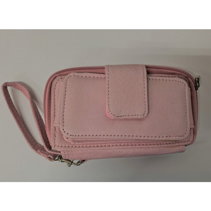50767A Pink Double Zip Purse with Velcro Front Pocket