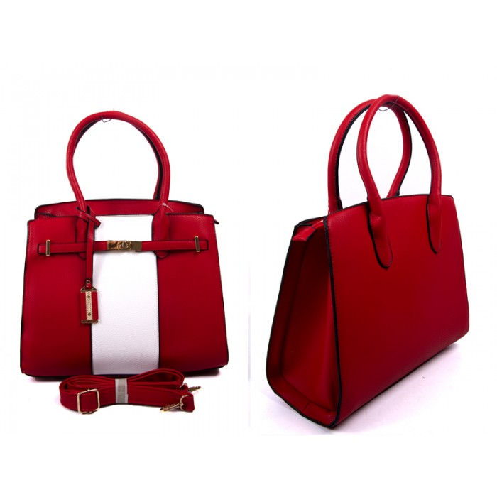 JBFB232 RED PU HANDBAG WTH TAG DETACH SHOULDER STRAP