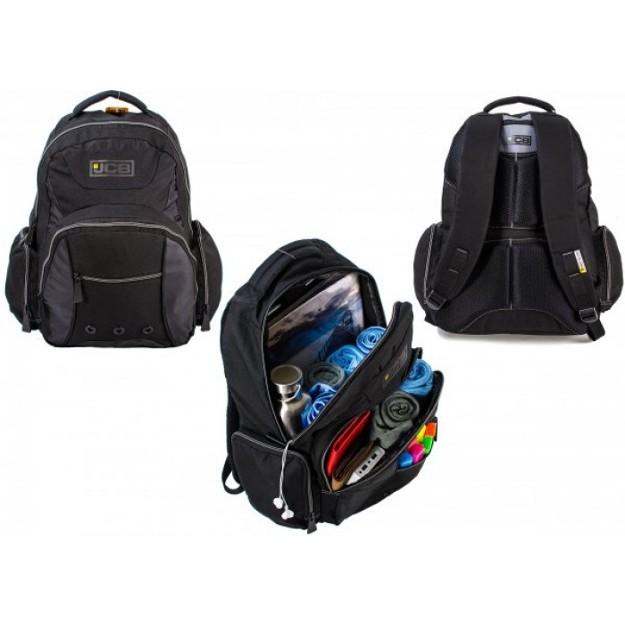 JCBBP17 BLACK/GRAY RUCKSACK W/ 5 ZIP COMPARTMENTS