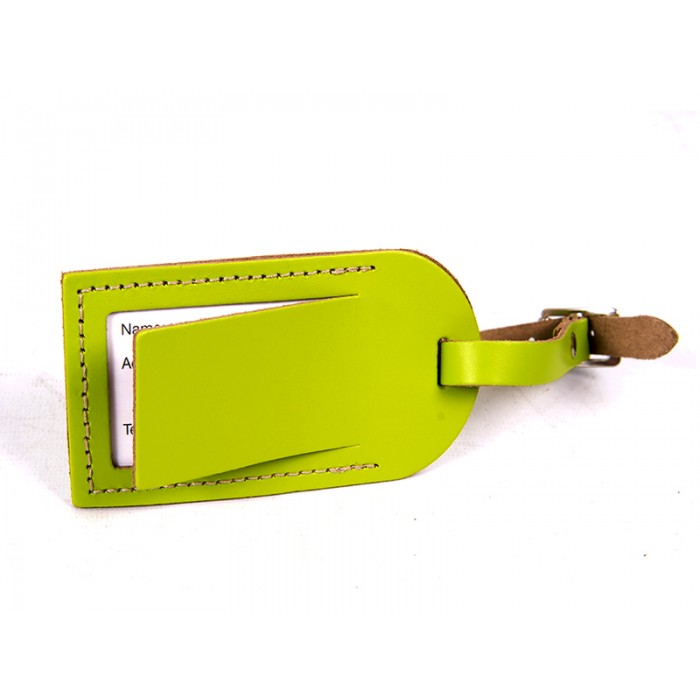 LEATHER LUGGAGE TAG LIME GREEN