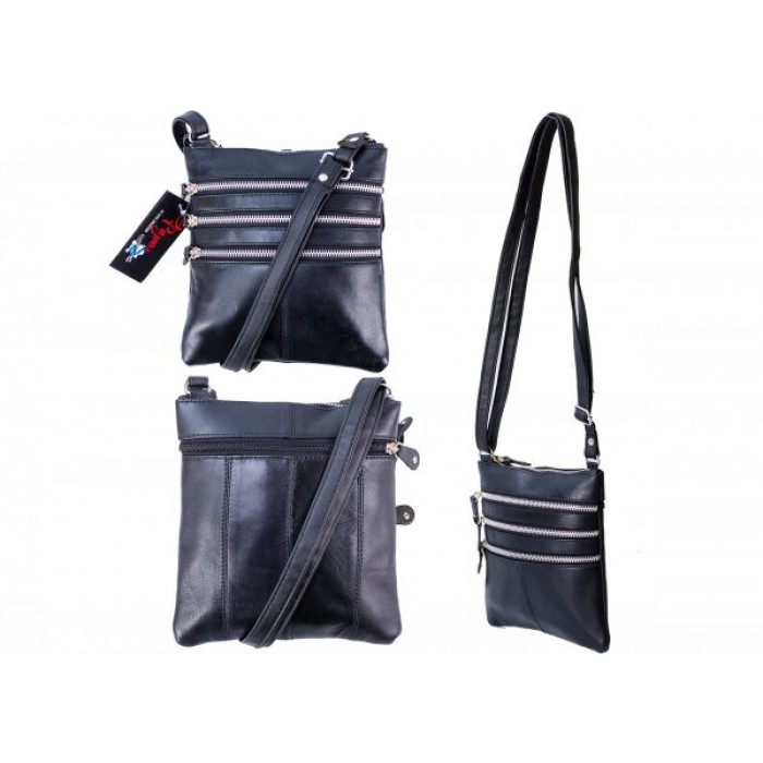 PR DD 17 BLACK LEATHER & PU BAG WITH 5 ZIPS