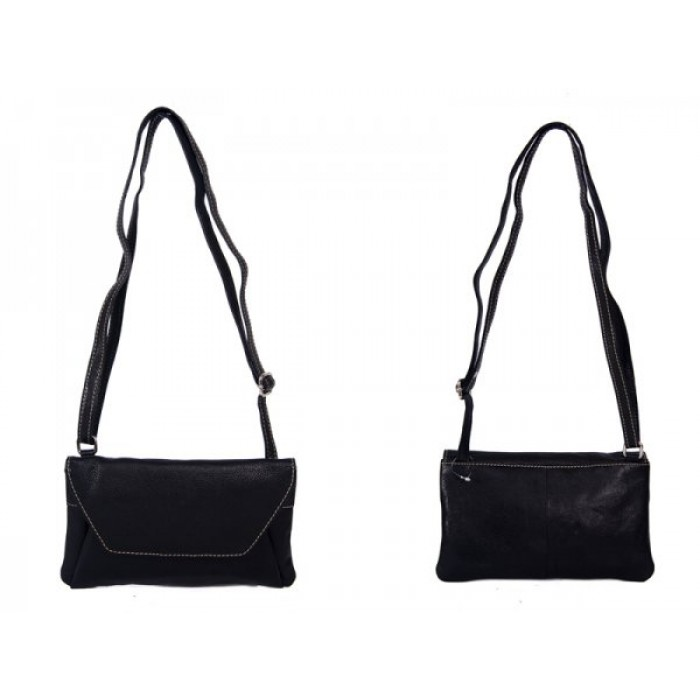 RL 666 BLACK LEATHER BAG WITH POPPER FLAP CLEARANCE