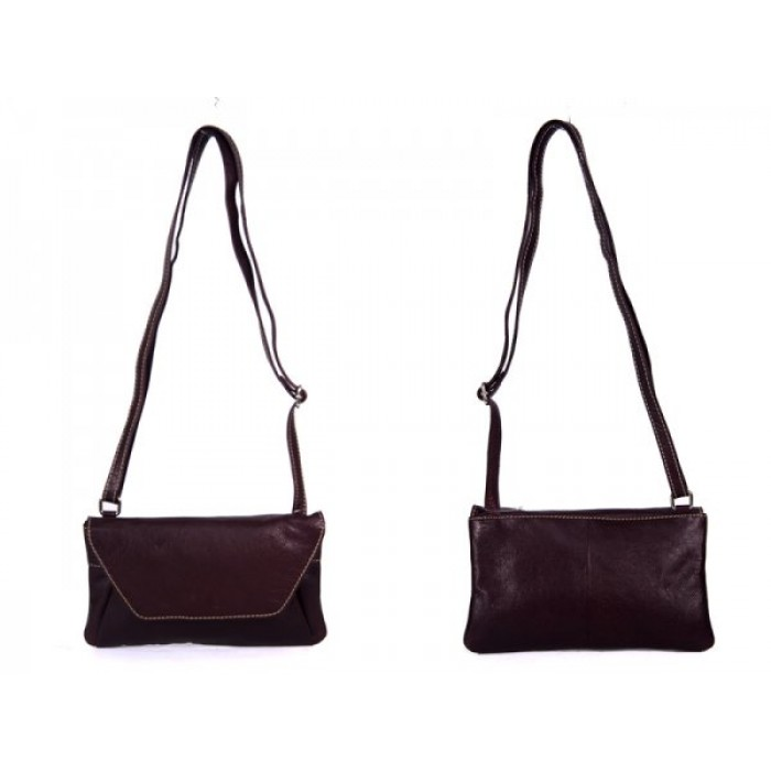 RL 666 BROWN LEATHER BAG WITH POPPER FLAP CLEARANCE