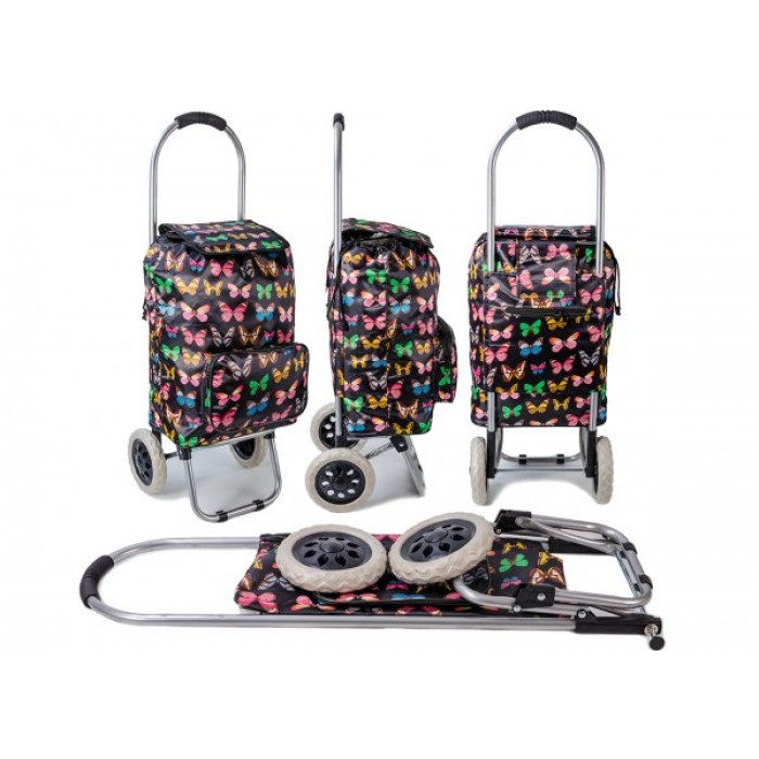 ST-BFP-03 BLK BFLY PRINT WHEEL SHOPPING TROLLEY