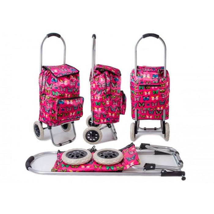 ST-BFP-03 RED BUTTERFLY PRINT 2 WHEEL SHOPPING TROLLEY
