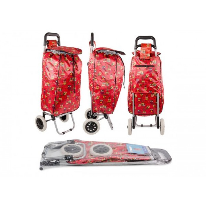 ST-08 RED OWL PRINT 2 WHEEL SHOPPING TROLLEY